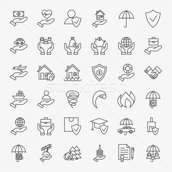 Insurance Line Art Design Icons Big Set Stock photo © Anna_leni