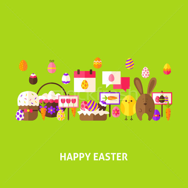 Happy Easter Greeting Postcard Stock photo © Anna_leni