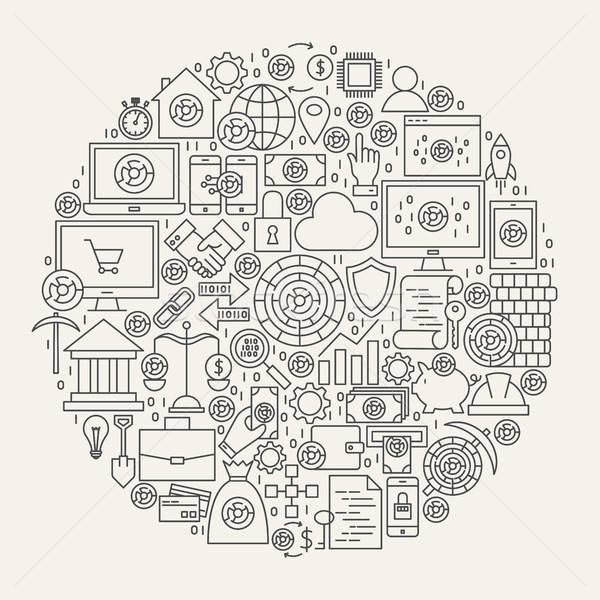 Cryptocurrency Line Icons Circle Stock photo © Anna_leni