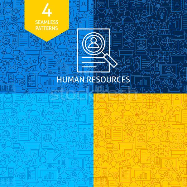 Vonal emberi erőforrások minták négy vektor Stock fotó © Anna_leni