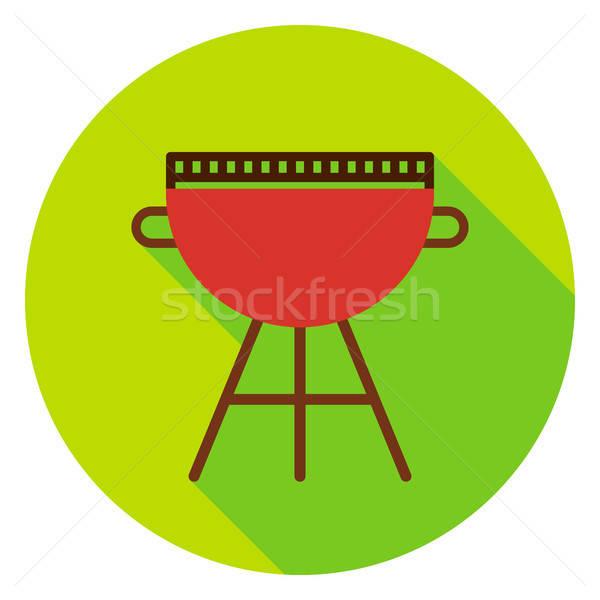 BBQ grill kör ikon terv hosszú Stock fotó © Anna_leni