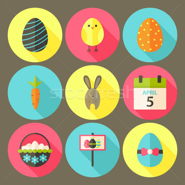 Easter flat styled circle icon set 6 with long shadow Stock photo © Anna_leni