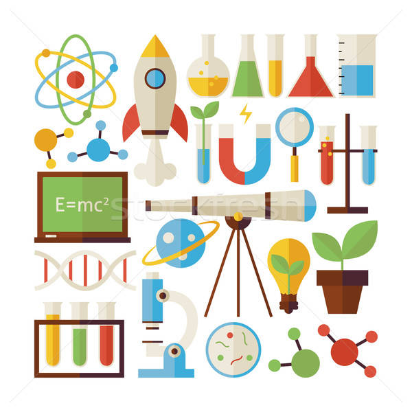 Flat Style Vector Collection of Science and Education Objects Is Stock photo © Anna_leni