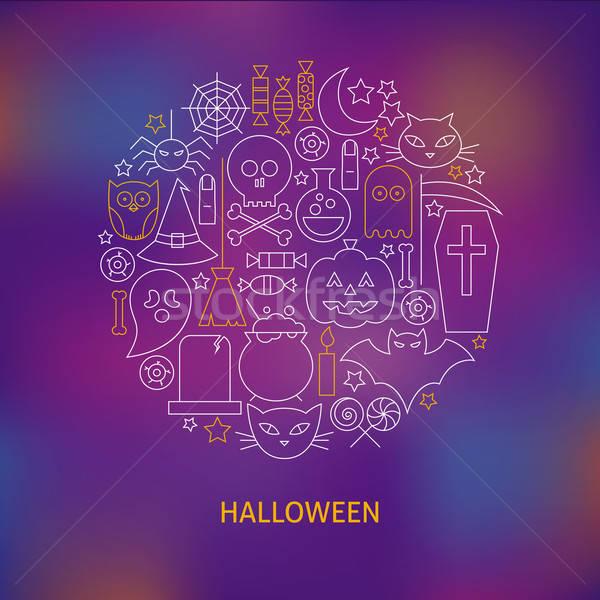 Thin Line Halloween Holiday Icons Set Circle Shaped Concept Stock photo © Anna_leni