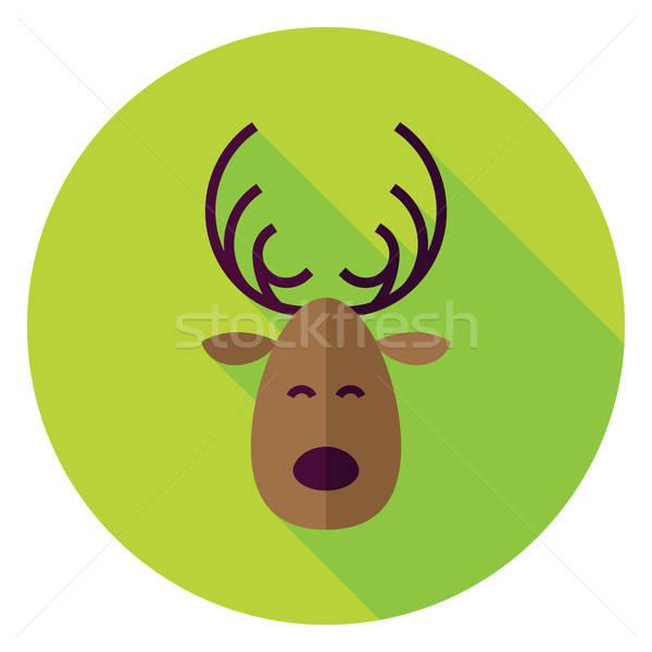 Design Natale cervo cerchio icona lungo Foto d'archivio © Anna_leni