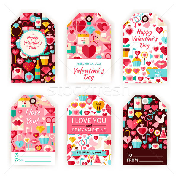Happy Valentine Day Vector Gift Tag Template Flat Set Stock photo © Anna_leni