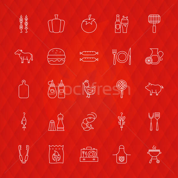 Barbecue Line Icons Stock photo © Anna_leni