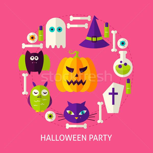 Halloween Party Flat Concept Stock photo © Anna_leni