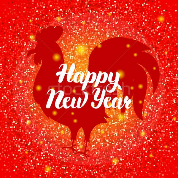Ano novo chinês vermelho galo inverno férias símbolo Foto stock © Anna_leni