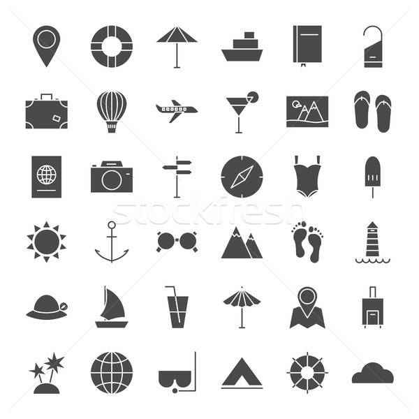 Travel Solid Web Icons Stock photo © Anna_leni