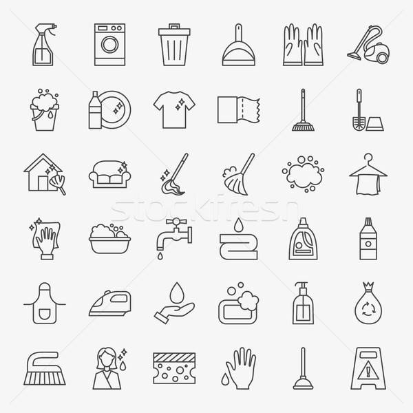 Cleaning Services Line Icons Set Stock photo © Anna_leni