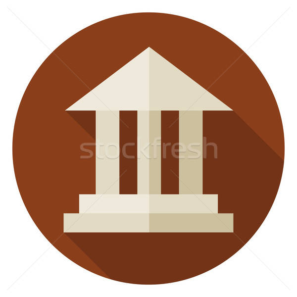 Flat School Building Circle Icon with Long Shadow Stock photo © Anna_leni
