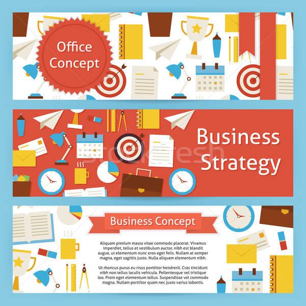 Foto stock: Oficina · estrategia · de · negocios · vector · plantilla · banners · establecer