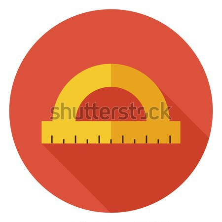 Flat Office Measure Instrument Protractor Circle Icon with Long  Stock photo © Anna_leni