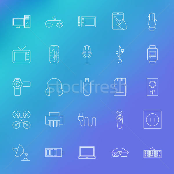 Electronic Gadgets Line Icons Set over Blurred Background Stock photo © Anna_leni