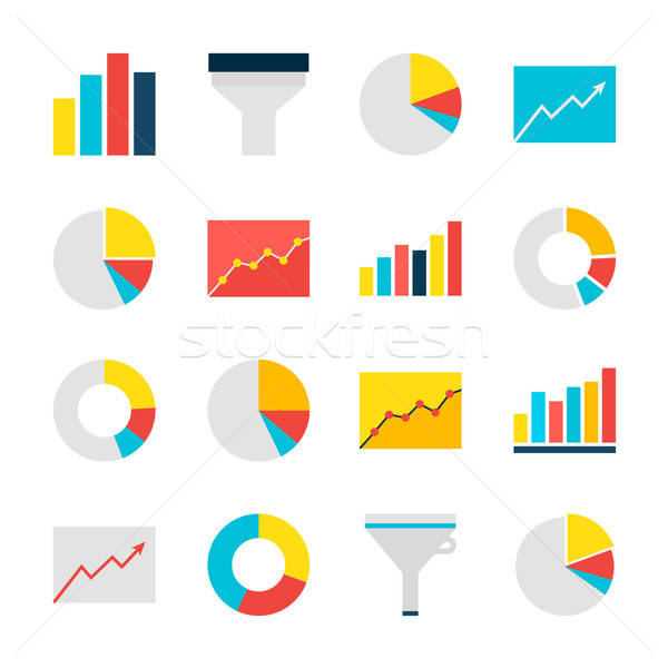 Business Analysis Graph and Chart Flat Objects Set isolated over Stock photo © Anna_leni