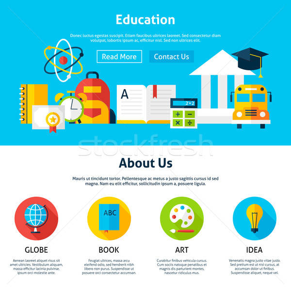 Education Flat Web Design Template Stock photo © Anna_leni