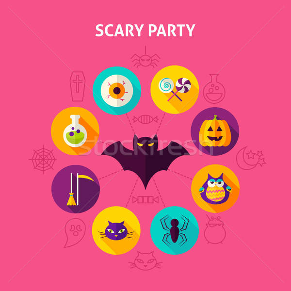 Scary strony halloween kółko projektu Zdjęcia stock © Anna_leni