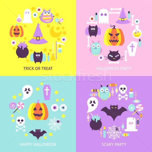 Halloween modny koncepcje zestaw projektu kolekcja Zdjęcia stock © Anna_leni