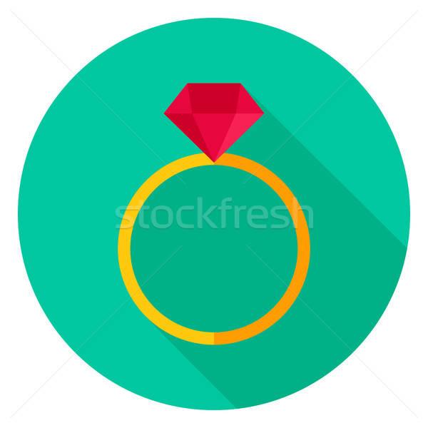 Ring with Diamond Circle Icon Stock photo © Anna_leni