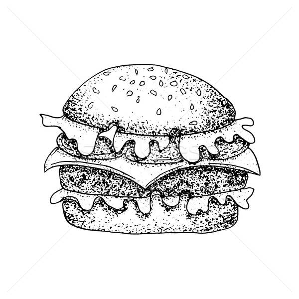 Dotwork Fast Food Burger Stock photo © Anna_leni