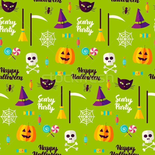 Halloween buli végtelen minta ünnep trükk csemege Stock fotó © Anna_leni