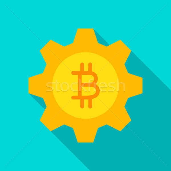 Bitcoin engins icône longtemps ombre affaires Photo stock © Anna_leni