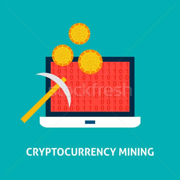 Bányászat laptop pénzügyi technológia üzlet számítógép Stock fotó © Anna_leni