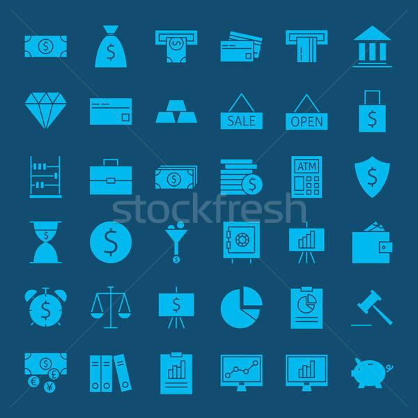 Bancario dinero sólido iconos de la web vector establecer Foto stock © Anna_leni