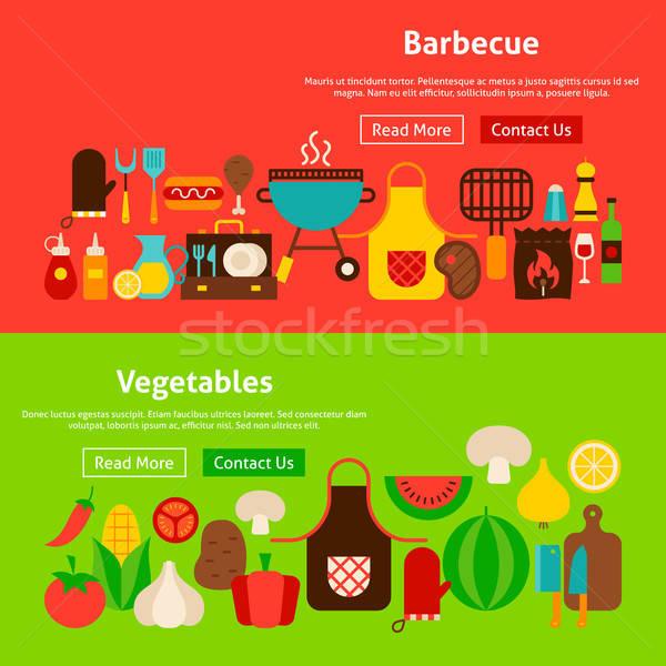 барбекю овощей сайт Баннеры веб Сток-фото © Anna_leni