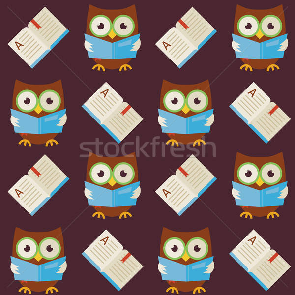 Flat Vector Seamless Pattern Wisdom Owl Reading Book Stock photo © Anna_leni