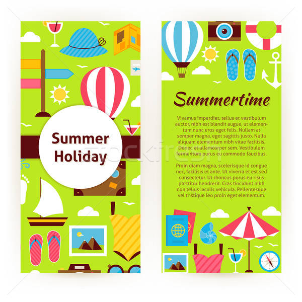Vector Flyer Template of Flat Design Summer Holiday Concept Obje Stock photo © Anna_leni