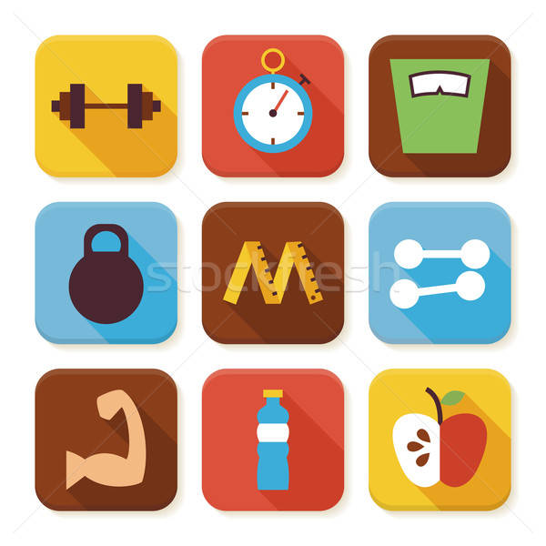 Flat Sport and Fitness Squared App Icons Set Stock photo © Anna_leni