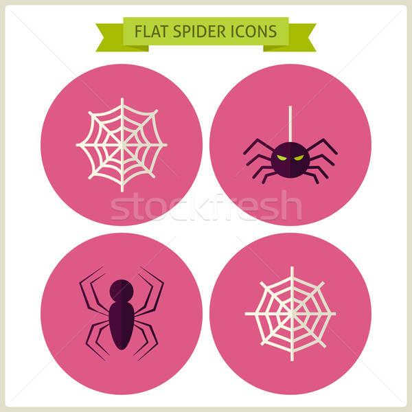 Ijesztő pók weboldal ikon szett gyűjtemény mágikus Stock fotó © Anna_leni