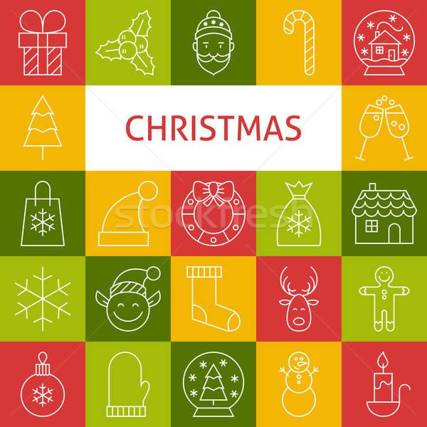 Vector Line Art Modern Merry Christmas Holiday Icons Set Stock photo © Anna_leni