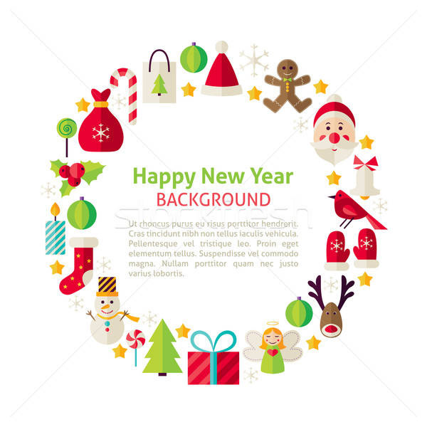 Stockfoto: Stijl · vector · cirkel · sjabloon · collectie · gelukkig · nieuwjaar