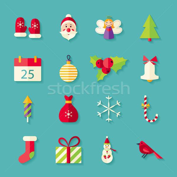 Stok fotoğraf: Kış · neşeli · Noel · nesneler · ayarlamak · gölge