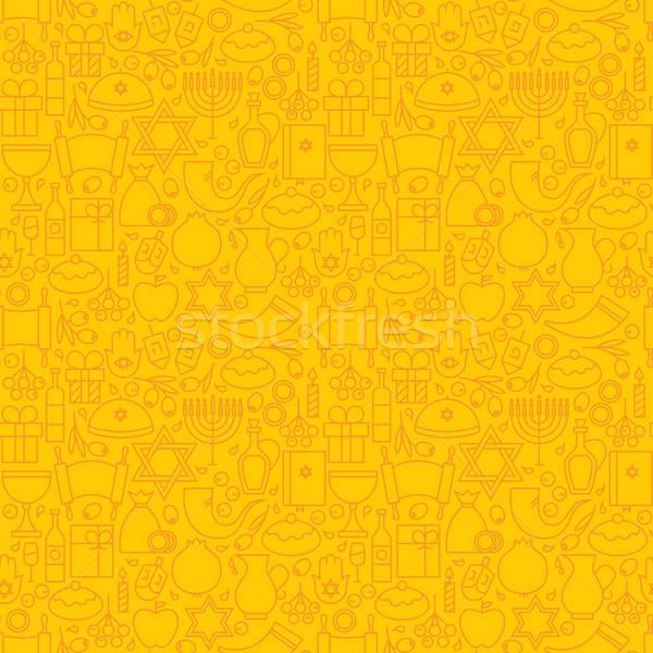 Fino linha férias feliz sem costura amarelo Foto stock © Anna_leni