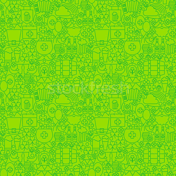 Thin Irish Line Saint Patrick Day Seamless Green Pattern Stock photo © Anna_leni