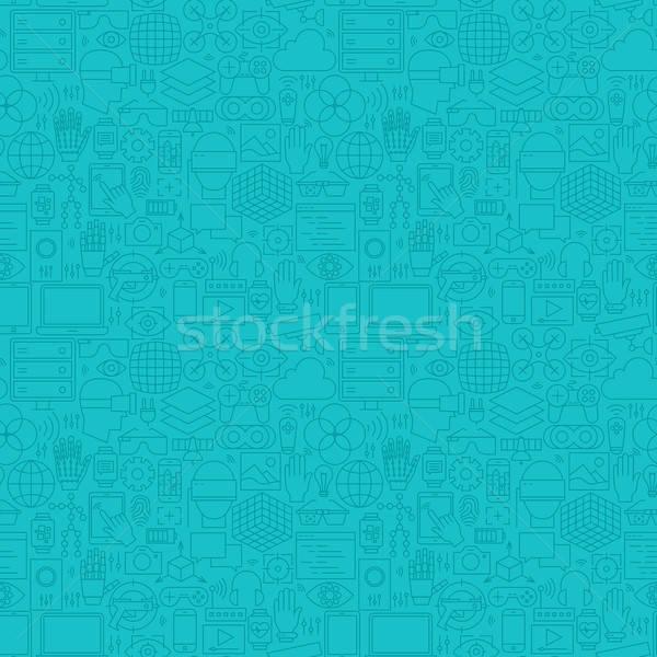 Vékony vonal valóság menta kék végtelen minta Stock fotó © Anna_leni