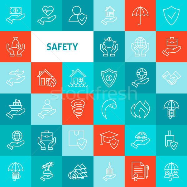 Stock photo: Vector Line Safety Icons Set