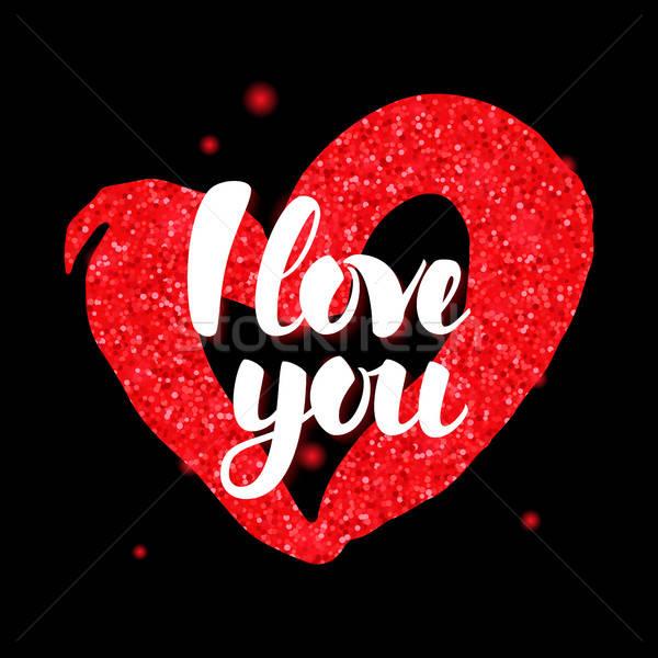 Preto vermelho amor dia dos namorados saudação cartão postal Foto stock © Anna_leni