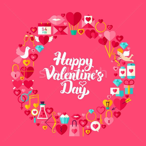 Walentynki kółko obiektów kolekcja miłości wakacje Zdjęcia stock © Anna_leni