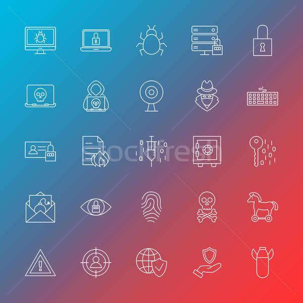 Stock photo: Internet Security Line Icons