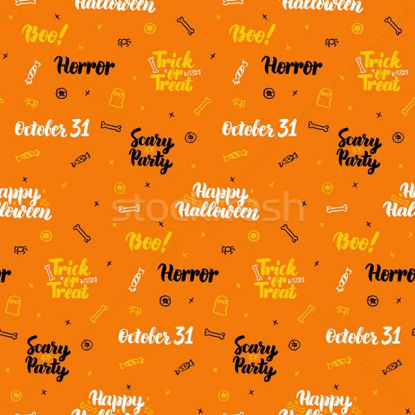 Narancs halloween végtelen minta ünnep trükk csemege Stock fotó © Anna_leni