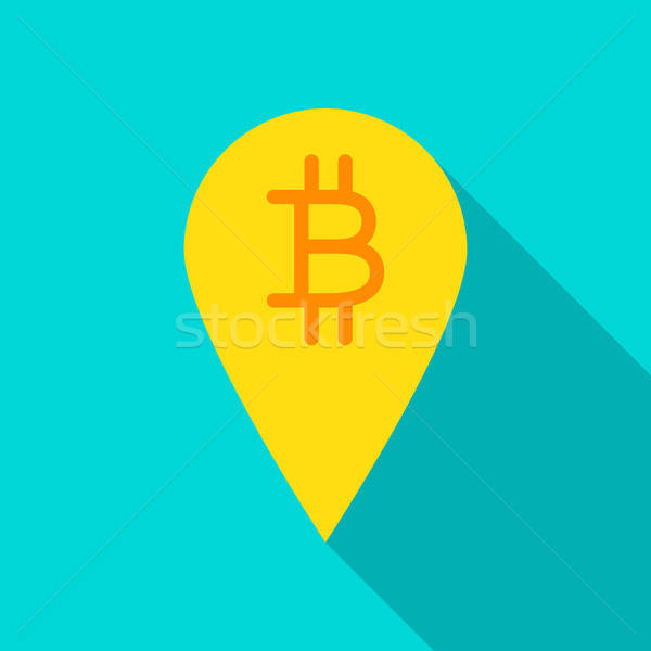 Bitcoin pin icono mapa largo sombra Foto stock © Anna_leni