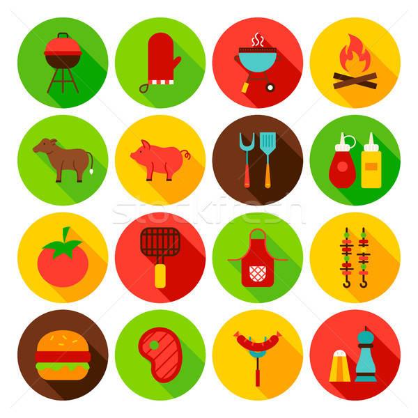 Barbecue étel kör ikon szett terv gyűjtemény Stock fotó © Anna_leni