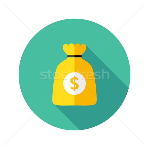 Dollár pénz táska kör ikon illusztráció Stock fotó © Anna_leni