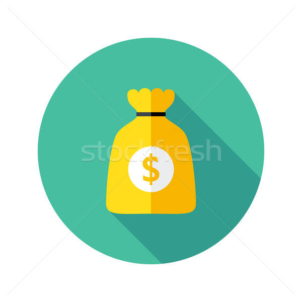 Dollar Money Bag Flat Circle Icon Stock photo © Anna_leni