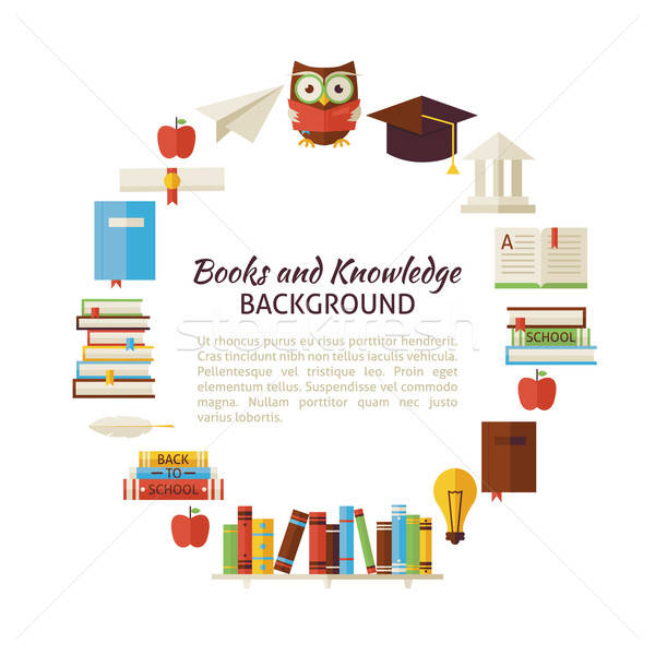 Flat Style Vector Circle Template of Books Education and Knowled Stock photo © Anna_leni